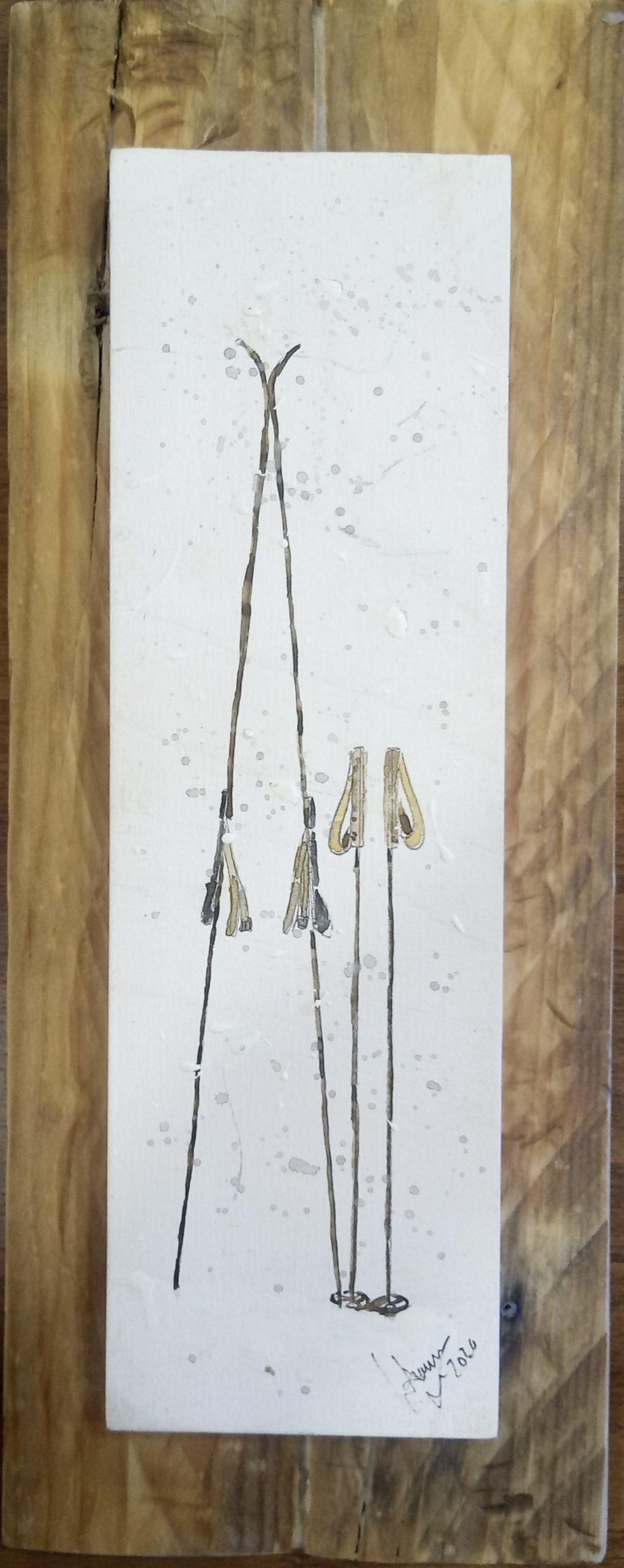 Acuarelas con acabados en madera
